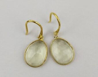 Handmade Sterling Silver Earrings (lemon quartz)