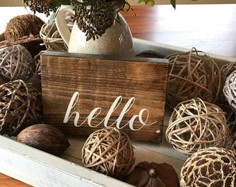 Hello Sign - Hello Wooden Sign - Hello Wood Sign - Hand Painted Sign - Wood Sign - Wooden Sign - Home Decor - Custom Sign - Welcome Sign