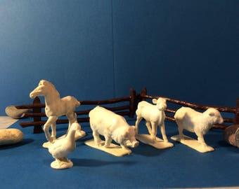 Sale White vintage farm animals