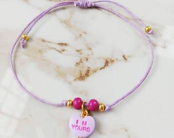 Conversation heart friendship bracelet // Valentine's Day //Gifts for Her