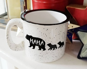 Mama Bear Ceramic Campfire Coffee Mug // Personalized // Customized Gift // Multiple Colors // Mothers Day // Fathers Day