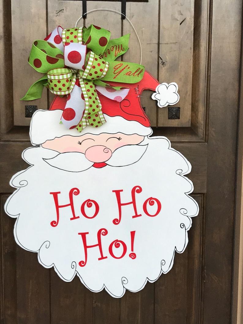 Santa Door Hanger Christmas Door Hanger Whimsy Door Decor Christmas Dec 5 DOLLAR SHIPPING LARGE HoHoHo Y/'all Ships Now Christmas Wreath