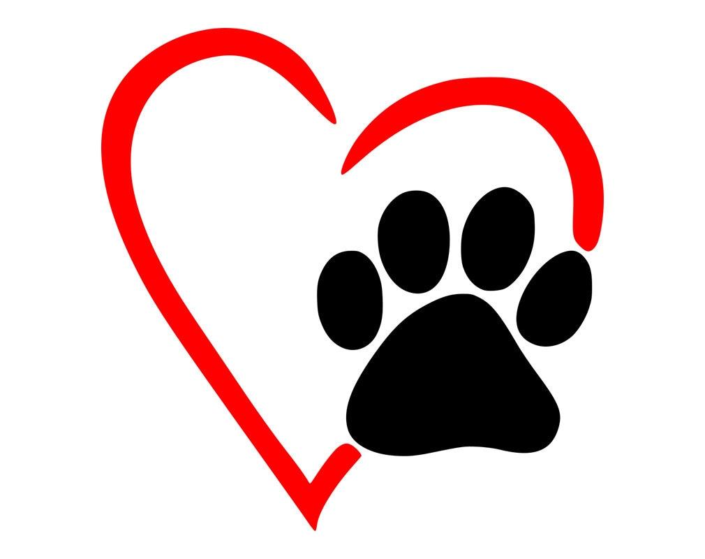 Paw Heart Svg Dog Cat Love Pet Graphics SVG Dxf EPS | Etsy