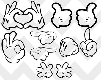 Mickey Hands Svg, Eps, Dxf, Png, Pdf, Hands Mickey Mouse svg silhouette stencil file cricut vector cut file cutting file eps vector files