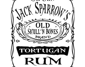Captain Jack Sparrow Old Rum SVG File, Tortugan Rum