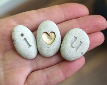 romantic gift anniversary gift men engraved stone heart pebble I love you gift valentine gift wife gift husband gift romantic magnet gift