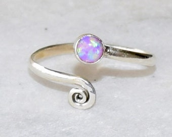 Toe Ring, Sterling Silver Toe Ring, Toe Rings, Pink Opal Toe Ring, Foot Accessories, Foot Ring, Stone Toe Ring, Band Toe , Foot Jewelry