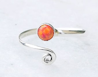 Toe Ring, Sterling Silver Toe Ring, Toe Rings, Orange Opal Toe Ring, Foot Accessories, Foot Ring, Stone Toe Ring, Band Toe , Foot Jewelry