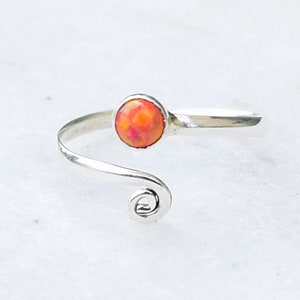 Foot Jewelry Orange Opal Toe Ring Foot Ring Band Toe Foot Accessories Sterling Silver Toe Ring Toe Rings Toe Ring Stone Toe Ring