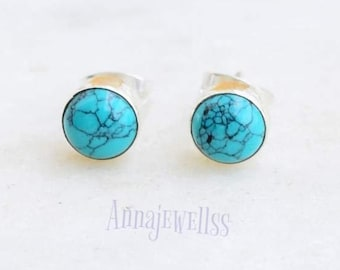 Turquoise Stud Earrings, Sterling Silver and Turquoise Posts, Bezel Set Earrings, Satin Finish