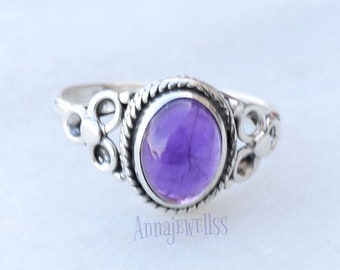Amethyst Ring, Amethyst Gemstone Sterling Silver Ring, February Birthstone, Purple Stone Ring, Amethyst Jewelry,Promise Ring