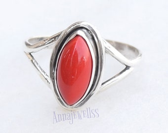 Coral Ring, Handmade Ring, Silver Ring, Solid Sterling Silver, Hammered Ring, Coral Stone Ring, Coral Jewellery