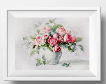 flower cross stitch pdf pattern modern cross stitch mother counted cross stitch rose xstitch floral cross stitch design flower needlework
