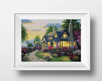 home cross stitch house counted cross stitch pdf cottage cross stitch holiday house embroidery cute cross stitch modern xstitch chart happy
