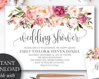 Wedding Shower Invitation, Fall Floral Bridal Shower Card, Couples Shower Invite, Editable Card Printable Instant Download Wedding Shower #1