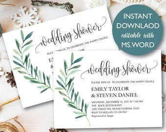 Wedding Shower Invitation, Greenery Wedding Shower Invited, Couples Shower Invited, Editable Card Instant Download with MS.WORD, #WDS13