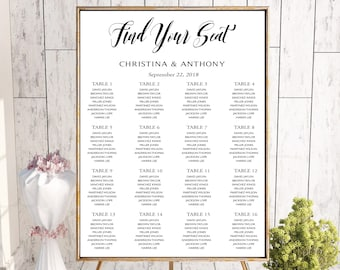 Wedding seating chart, Seating chart poster, Wedding seating chart template, Seating chart instant download pdf, Editable seating chart PDF