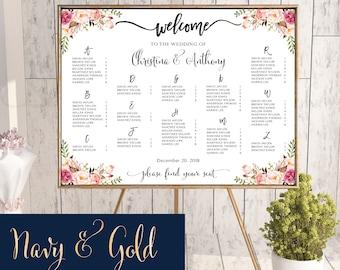 Wedding Seating Chart Template Navy Poster Alphabet Gold 184