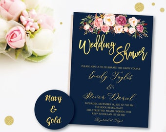 Wedding Shower Invitation, Navy & Gold wedding shower invited, Couples Shower Invite, Editable Card Instant Download Wedding Shower, N1
