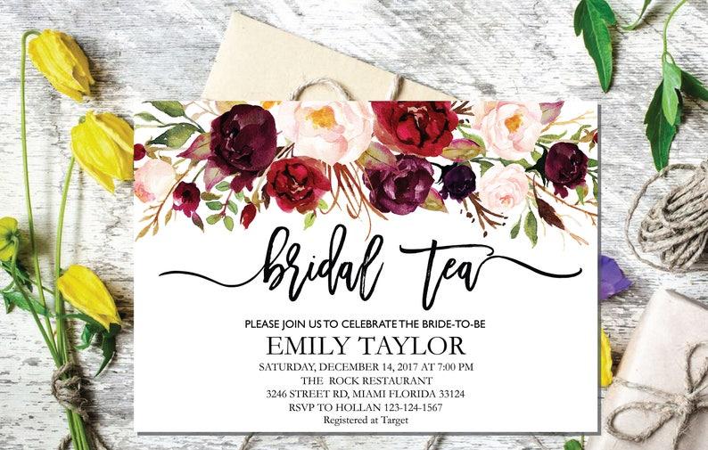 Bridal Tea Party Invitation Editable Shower Invite Template Boho INSTANT DOWNLOAD 04