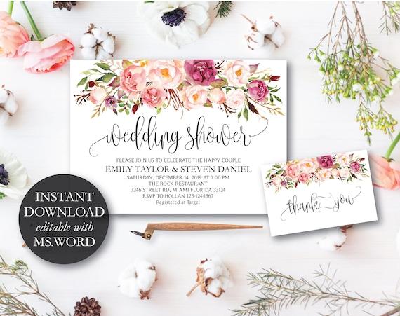Hochzeit Dusche Einladung Herbst Blumen Brautdusche Karte Etsy