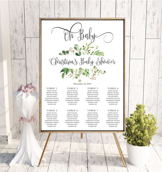 Baby Shower Seating Chart Board Oh