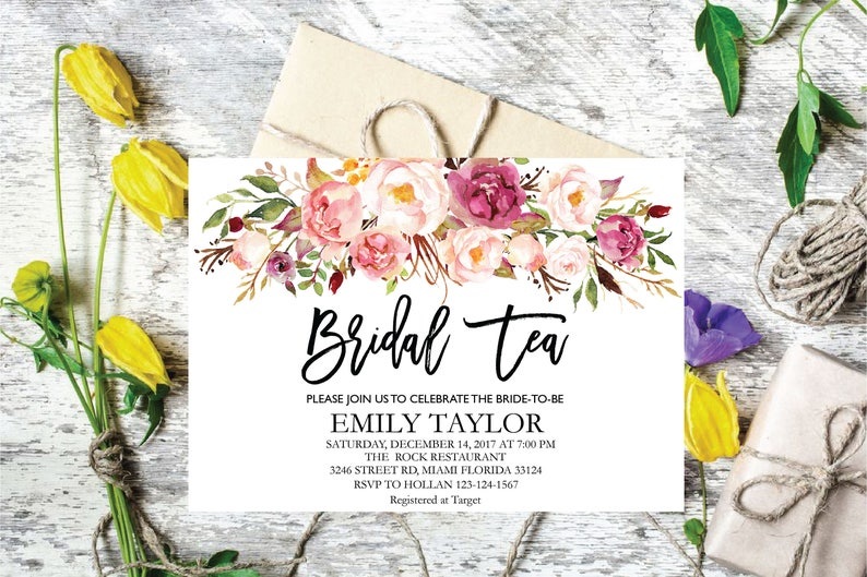 Bridal Tea Party Invitation Editable Shower Invite Template Boho INSTANT DOWNLOAD Flower 07