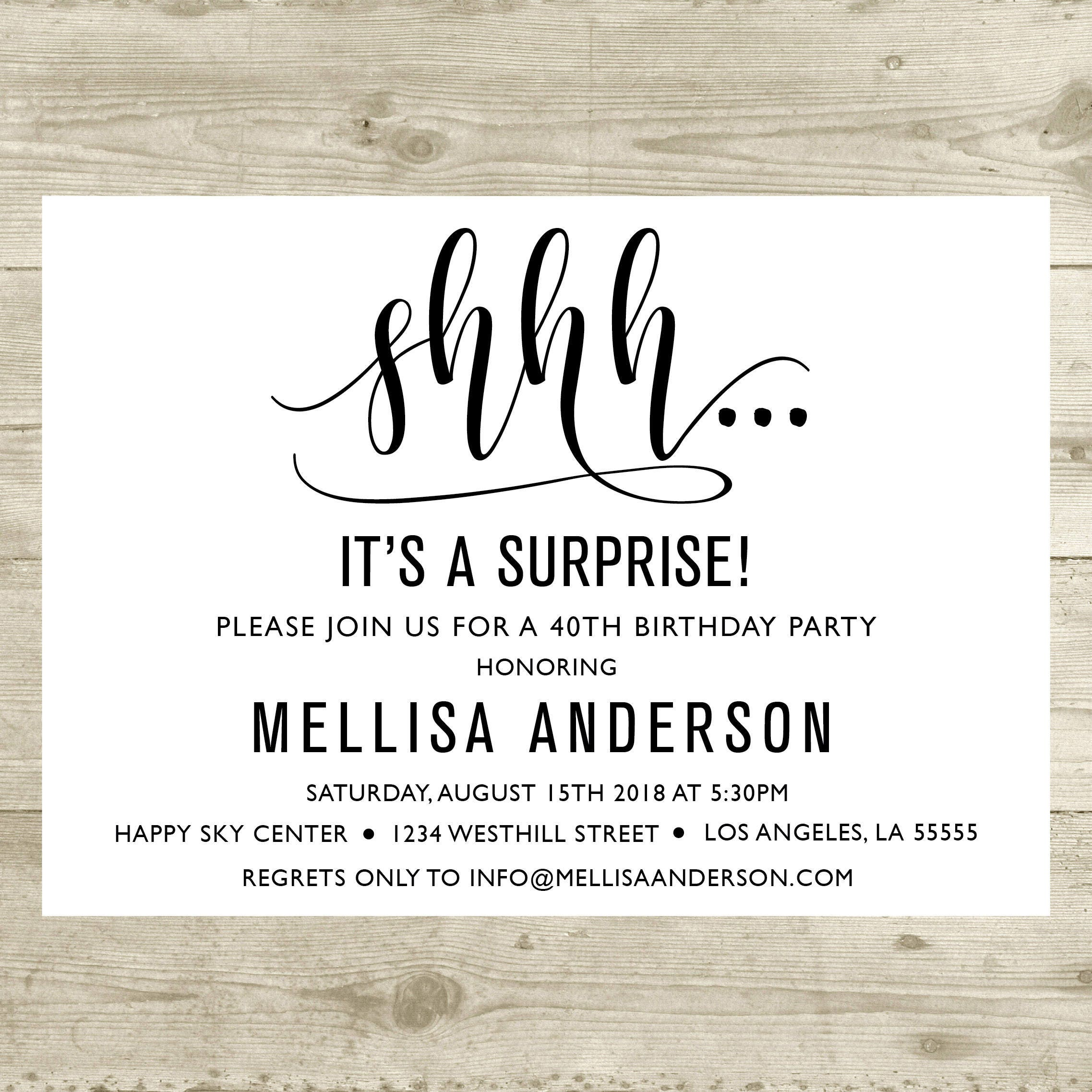Surprise Birthday Invitation Party 40th