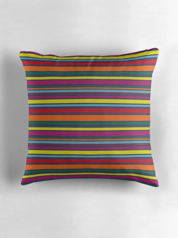 Striped Cushions Rainbow Stripe Cushion Striped Decorative Pillows Striped Pillows Filled Cushions Cushion Covers Uk Zippered Pillow