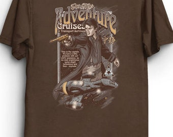 Adventure Cruises - Scifi Comic Book T-Shirt Tee | Browncoats | Serenity | Captain Mal | Nathan Fillion