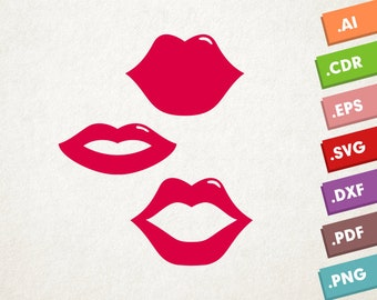 Lips SVG Vector, Kiss svg, mouth svg, lipstick svg. Love Lips SVG, Kiss Vector file. Instant download design for cricut or silhouette. Kiss.