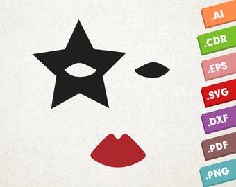 Paul KISS - SVG Vector file. Kiss makeup mask. Instant download for cricut or silhouette. Kiss makeup shape SVG. Kiss band. Paul mask.