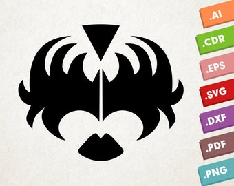 KISS - SVG Vector file. Kiss makeup mask. Instant download for cricut or silhouette. Kiss makeup shape SVG. Kiss band.