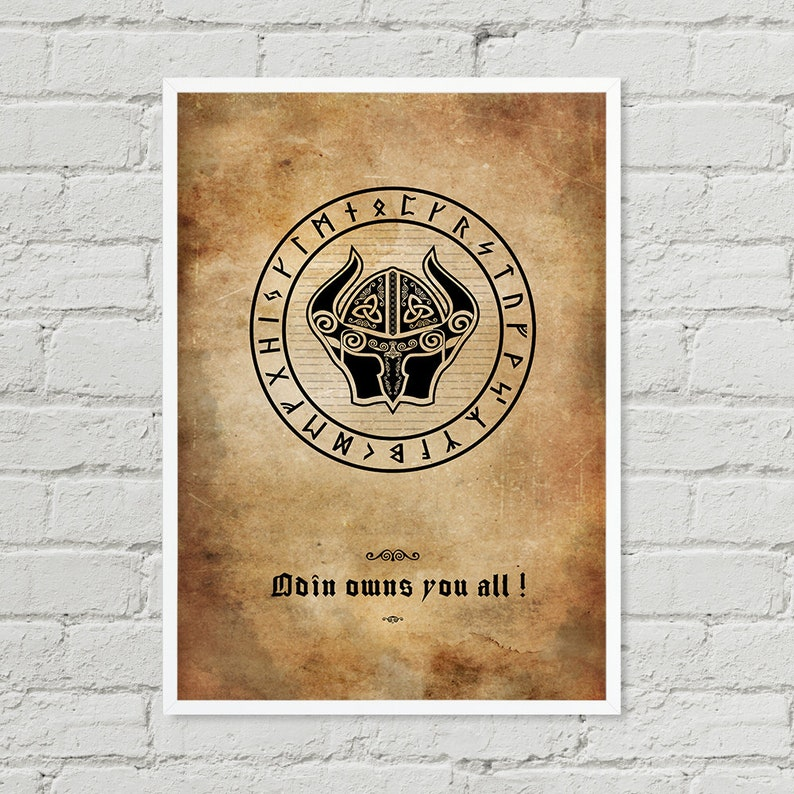 Vikings Battle Cry  Odin owns you all  Wall Art Digital image 0