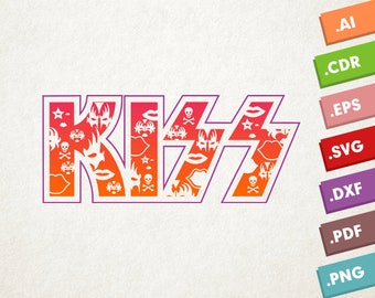 KISS logo - SVG Vector file. Kiss makeup mask. Instant download for cricut or silhouette. Kiss makeup shapes SVG. Kiss band logo.