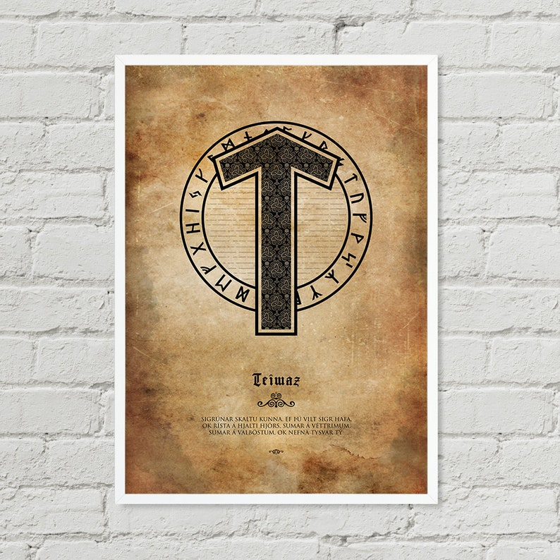 Tiwaz Teiwaz Rune  Wall Art Color Art Digital Print image 0