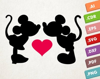 Mickey and Minnie Mouse - SVG, Vector files. Instant download design for cricut or silhouette. Mickey loves Minnie. Pink Heart. SVG Vector.