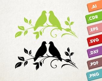 Lovebirds SVG Vector. Love birds SVG, Animals svg, Nature svg. Kissing birds, Wedding svg, Instant download design for cricut or silhouette.