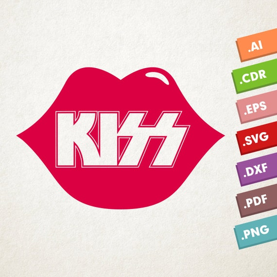Kiss Logo With Lips Svg Vector File Kiss Lips Instant Etsy