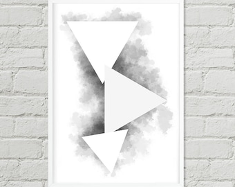 Abstract Triangles, Wall Art, Digital Print, Poster, Art, Instant Poster Art, Digital Art, Hand Paint