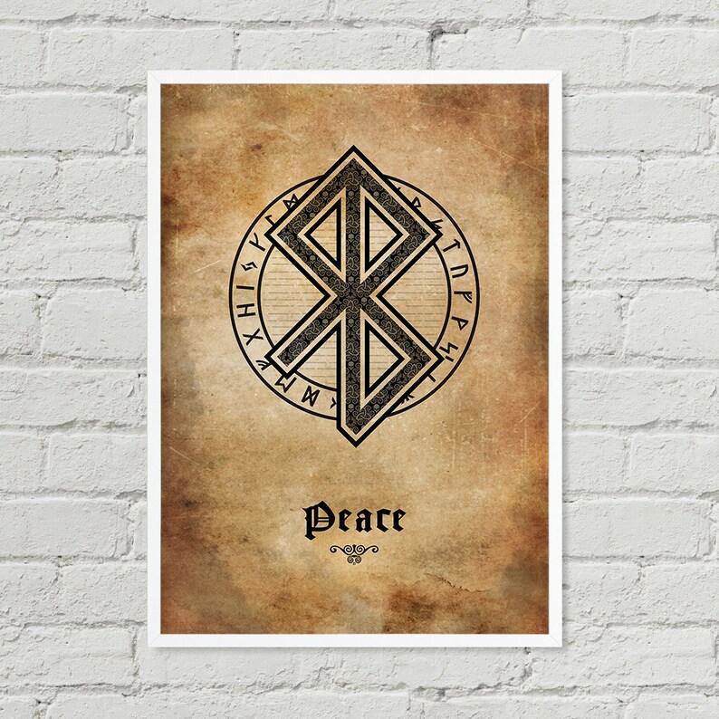 Peace Viking Symbol Wall Art Black And White Art Digital image 1