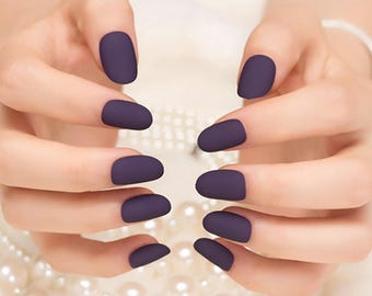 Matte False Nails Fake Nails Tips Full Cover Classical Noble Scrub Oval for Manicure Acrylic French Short Nail Art Professional DIY Solid
