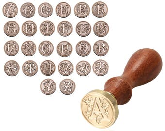 A-Z Initial Letter Wax Seal Stamp Alphabets - Classic Wood Wax Stamping Wedding Invitations Envelope Rose Sealing Wax Stamp Capital Letters