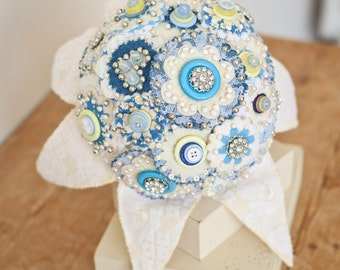 Denim Love Felt Bouquet with felt embroidered leaves