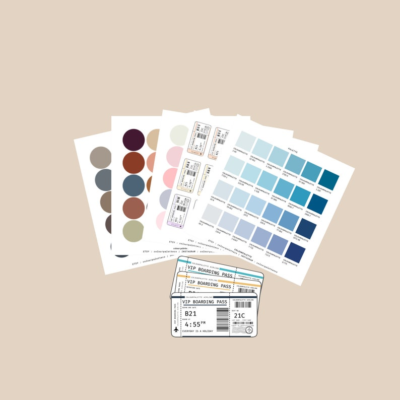 10 FULL SET,Colour Palette Stickers,colours planner,school supplies,bullet journal accessories,travel journal,back to school,aesthetic 14