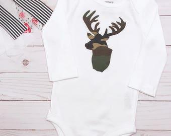 Stag Onesie | Baby Camo Bodysuit | Baby Camo Onesie | Camo Baby | Baby Hunting Clothes | Antler Bodysuit | Baby Gifts | Custom Onesie