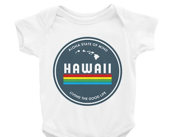 720cd5ff7b1e Aloha State of Mind Infant Bodysuit, Hawaii Baby Clothes, Hawaiian Shirt,  Children's Travel Clothes, Travel Baby, Vacation One Piece