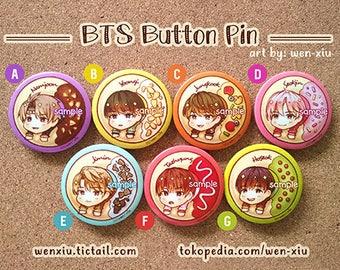 BTS Kpop Button Pin Badge - Rap Monster, Suga, Jungkook, Jin, Jimin, V, J-Hope