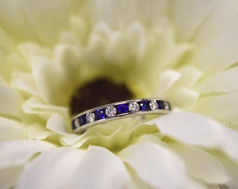 Tiffany & Co 3mm Platinum Diamond and Sapphire Eternity Ring.  Size M