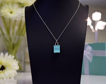 Tiffany & Co Blue Shopping Bag Charm and Chain